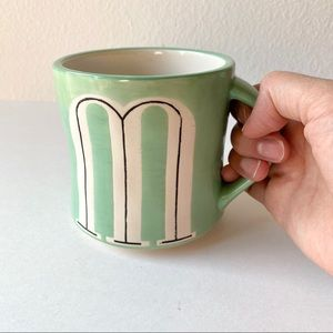 "Anthropologie Home ""M"" Monogram Hand Painted Mug"
